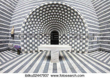 """Picture of """"Interior of the church of Mogno, designed by Mario."""