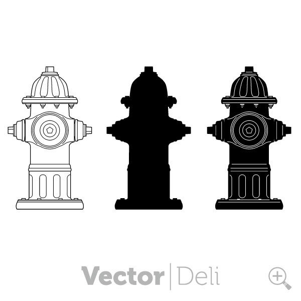 vector vinyl ready fire hydrant including silhouette.