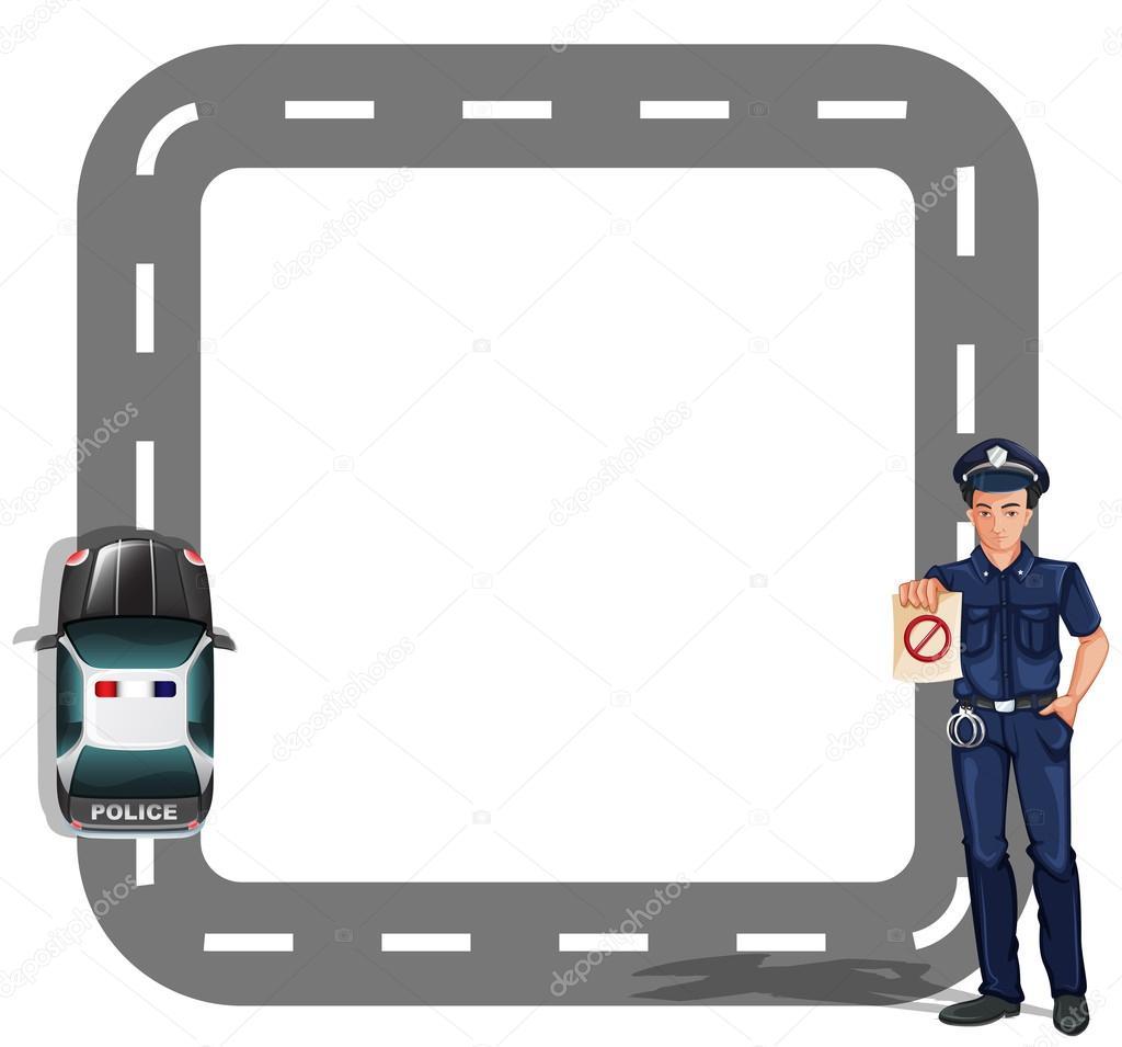 A border design with a policeman and a patrol car — Stock.