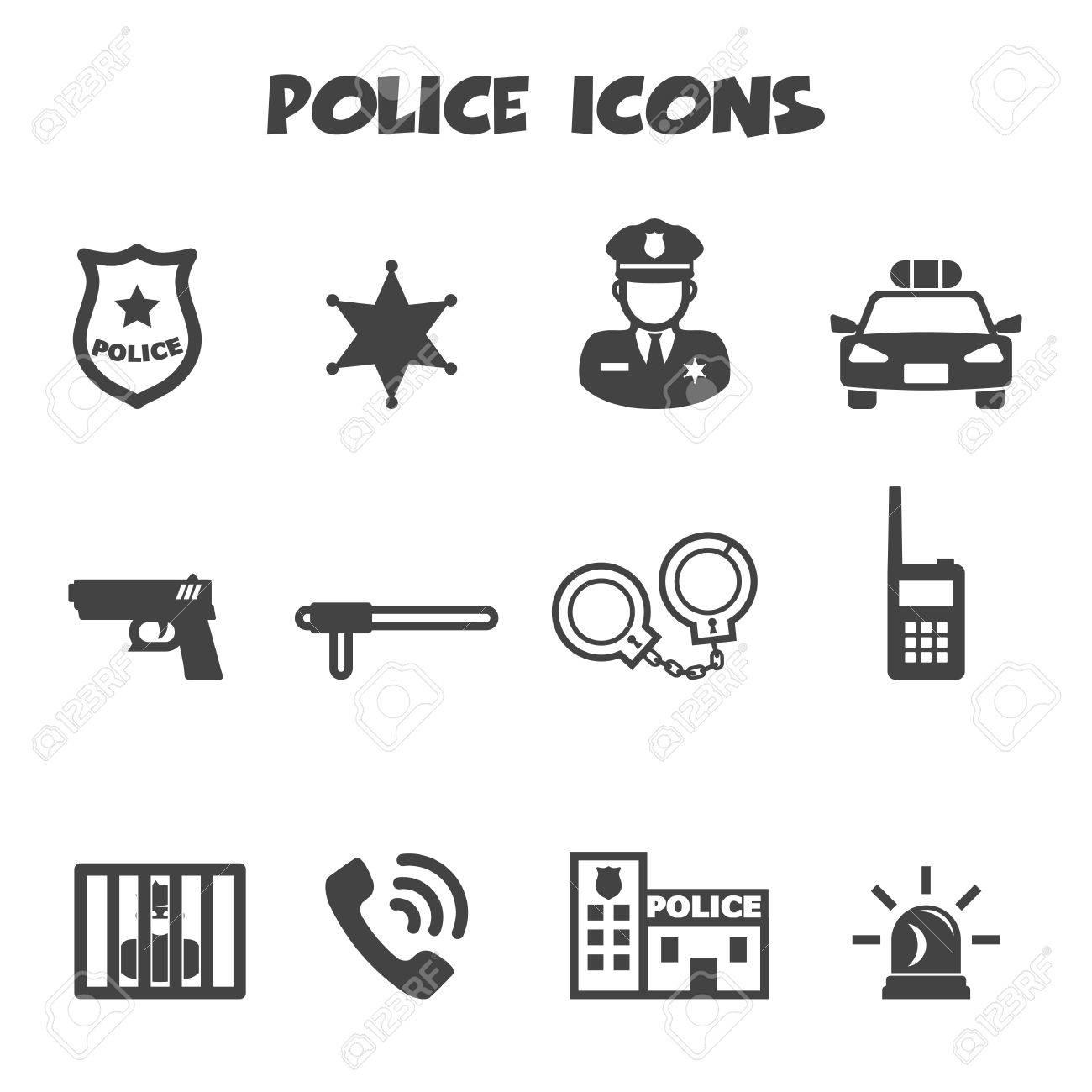 police icons, mono vector symbols.