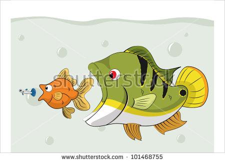 Fish Chain Food Pond Bigger Fish Stock Vector 101468755.