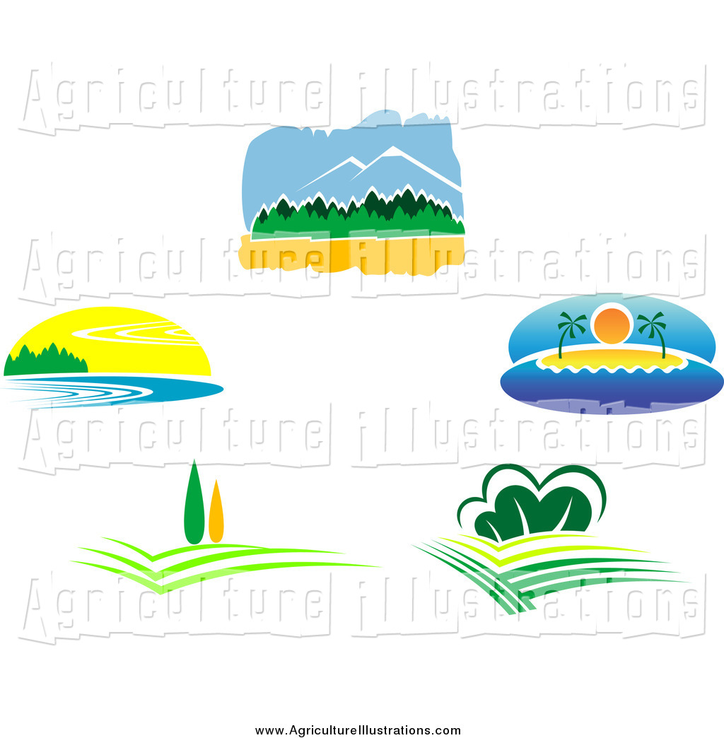 Agriculture Clipart of Nature Landscapes by Vector Tradition SM.