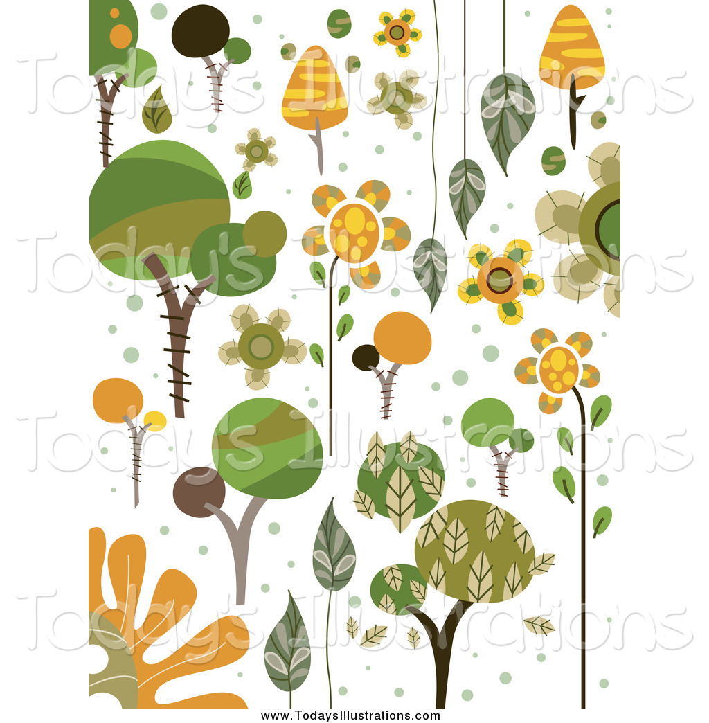 Clipart of Green and Orange Nature Doodles by BNP Design Studio.