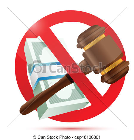 Vector Clipart of no money and law concept illustration design.