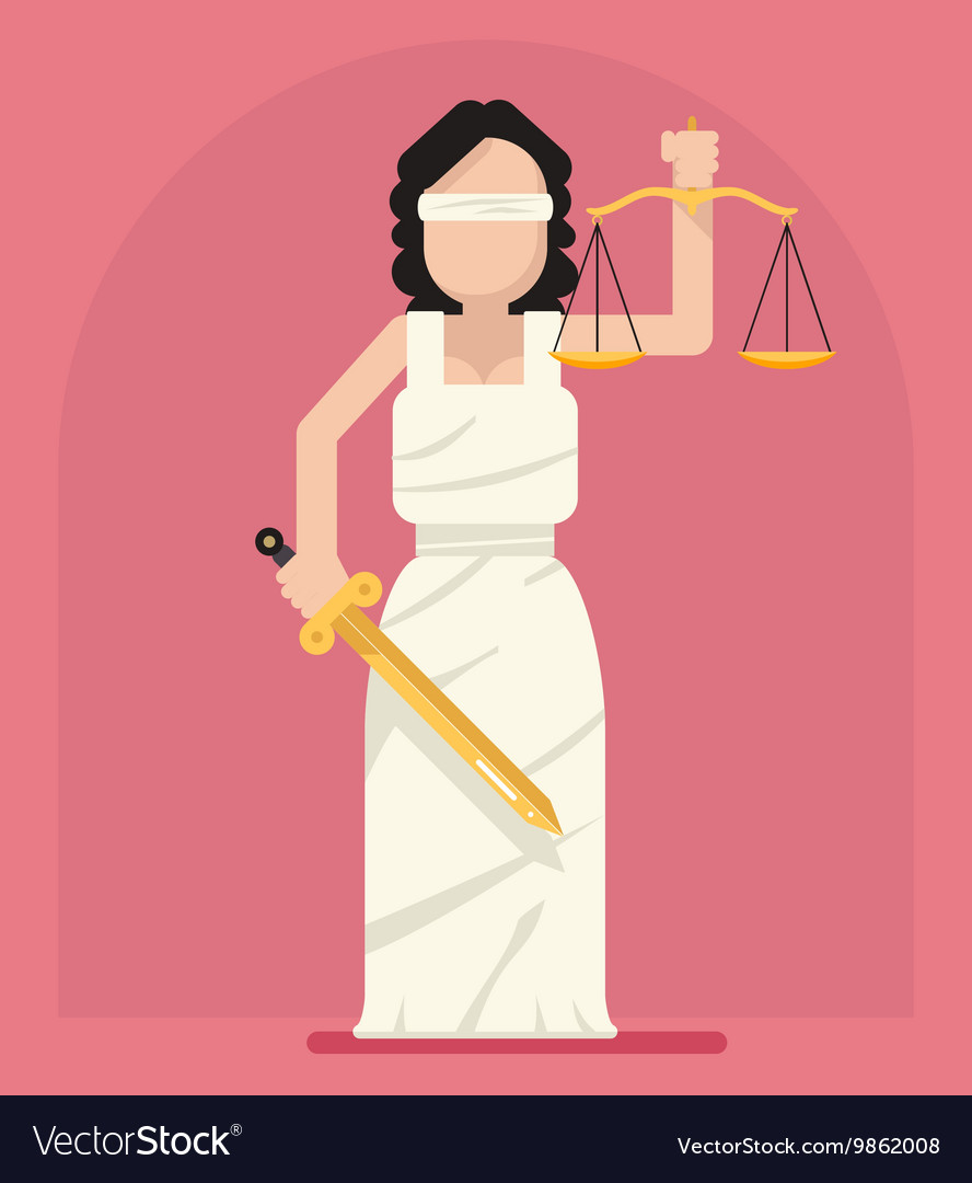 Themis Femida with scales and sword symbol of law.