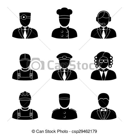 Vectors Illustration of Monochrome people faces of different.