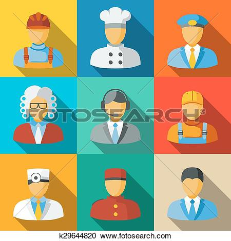 Clipart of Flat icons with people faces of different professions.