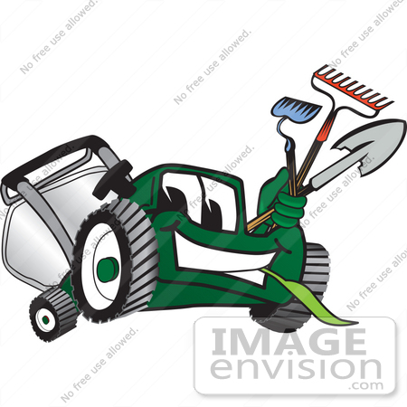 Clip Art Graphic of a Green Lawn Mower Mascot Character.
