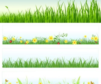 Grass With Daisies Clipart.