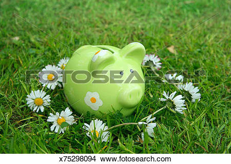 Stock Photo of Green piggy bank in centre of daisy chain on grassy.