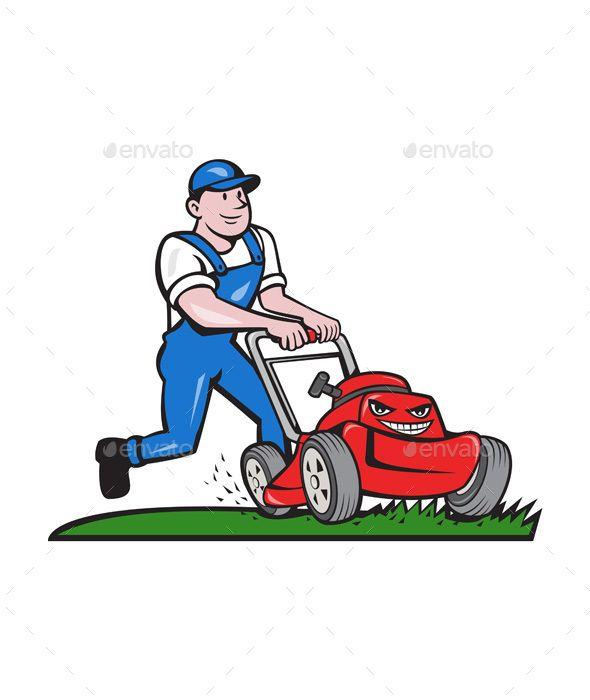 Gardener Mowing Lawn Mower Cartoon.