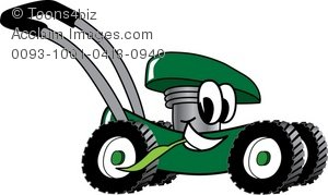 Clipart Cartoon Lawn Mower Smiling.