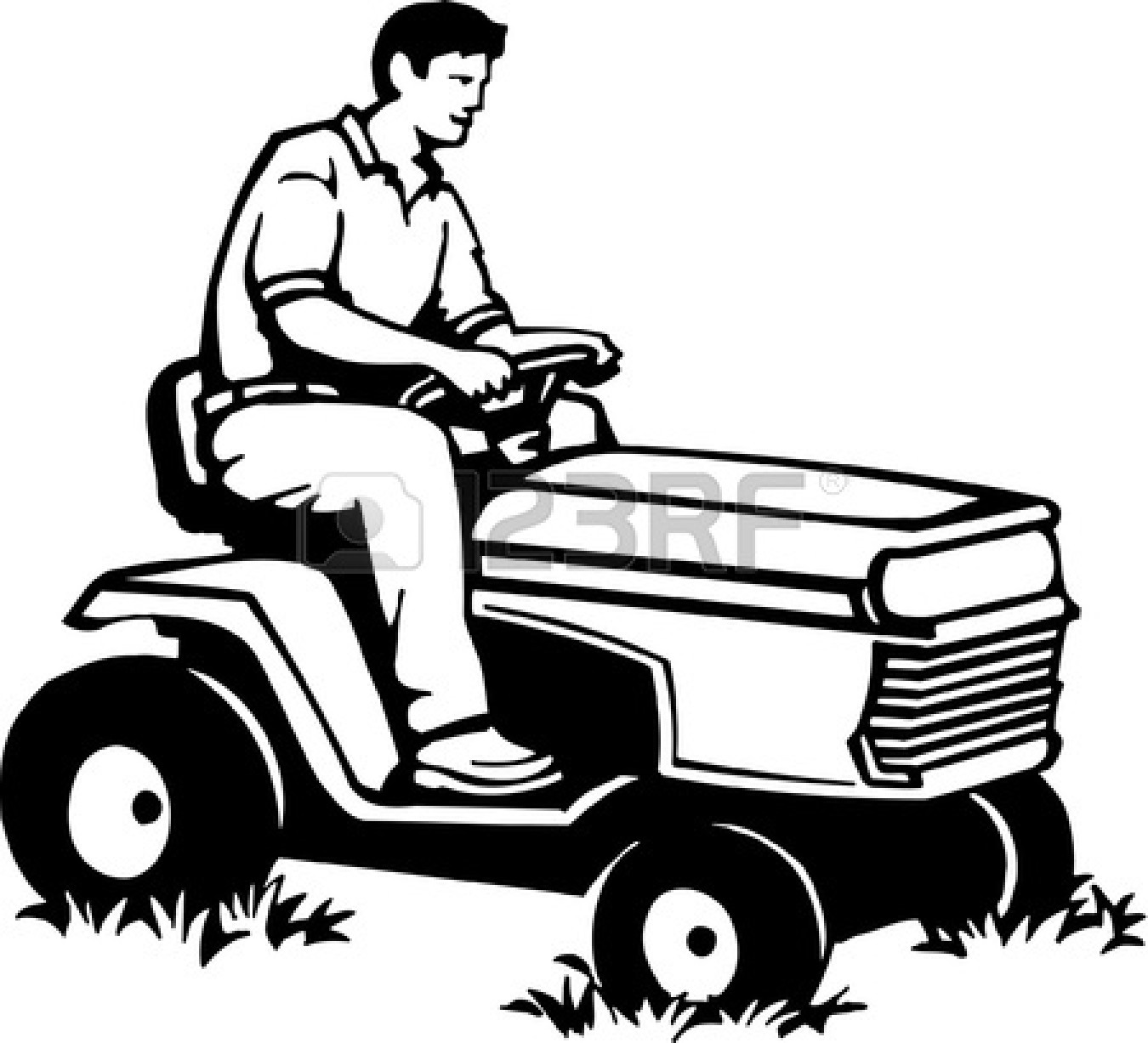 Man Mowing On Zero Turn Mower Clipart.