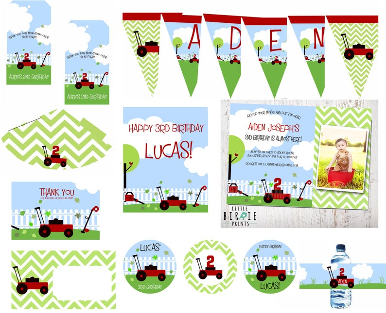 LAWN MOWER Birthday Invitation Party Chevron with Lawnmower Weed eater and  Leaf blower Premium Party Pack. Cupcake Toppers Banner Favor Tags.