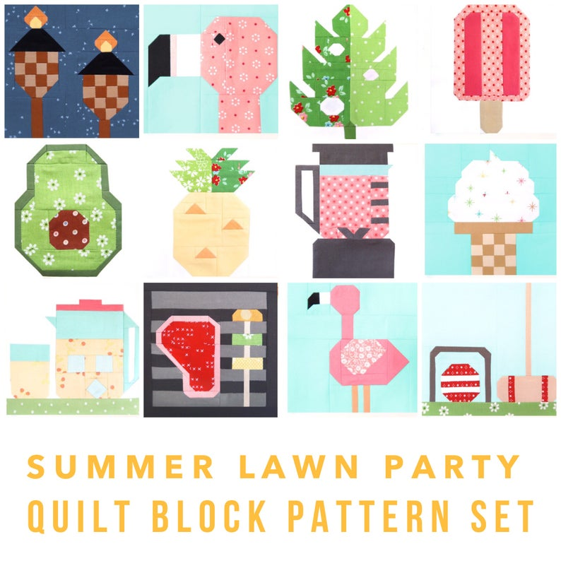 Set of 12 Summer Lawn Party Quilt Block Patterns: Flamingos, Food,  Lemonade, Ice Cream, Games 6 inch and 12 inch blocks 25% Savings.