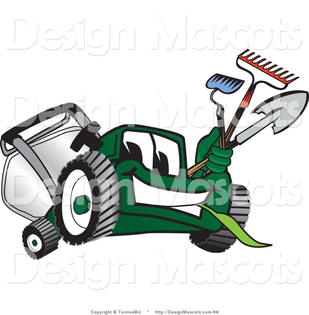 Clipart of a Green Lawn Mower Mascot Carrying Garden Tools.
