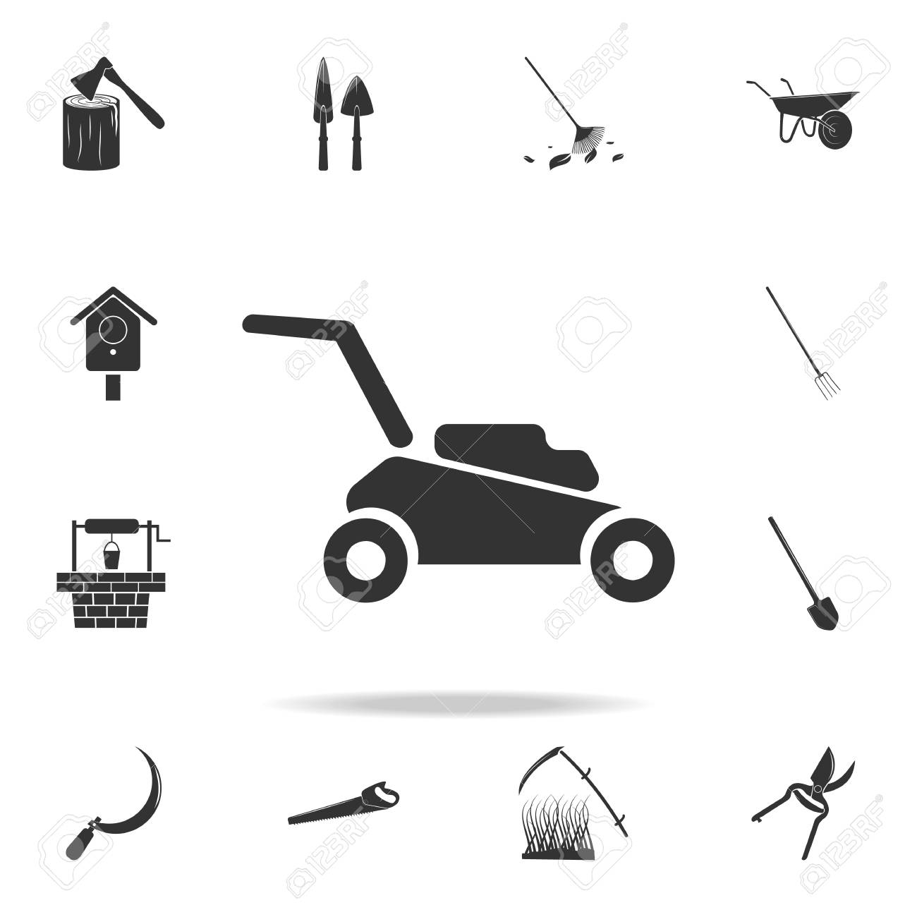 lawn mower icon. Detailed set of garden tools and agriculture...