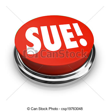 Stock Photo of Sue Red Round Button Lawsuit Plantiff Attorney.