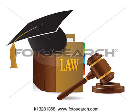Clip Art of education Judge lawsuit hammer on law book k13281368.