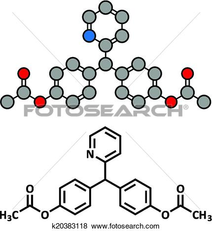 Clip Art of Bisacodyl laxative drug, chemical structure. k20383118.