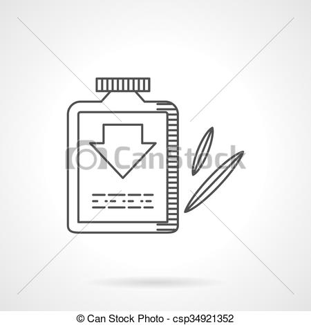 Clipart Vector of Laxative flat line design vector icon.
