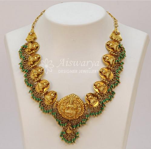 Antique Laxmi Green Pasi Short Necklace S0348.