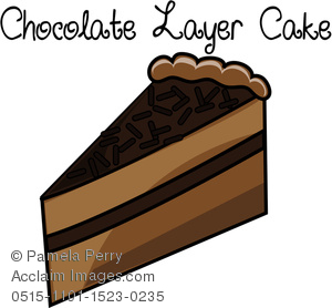 Clip Art Illustration of a Piece of Chocolate Layer Cake Icon.