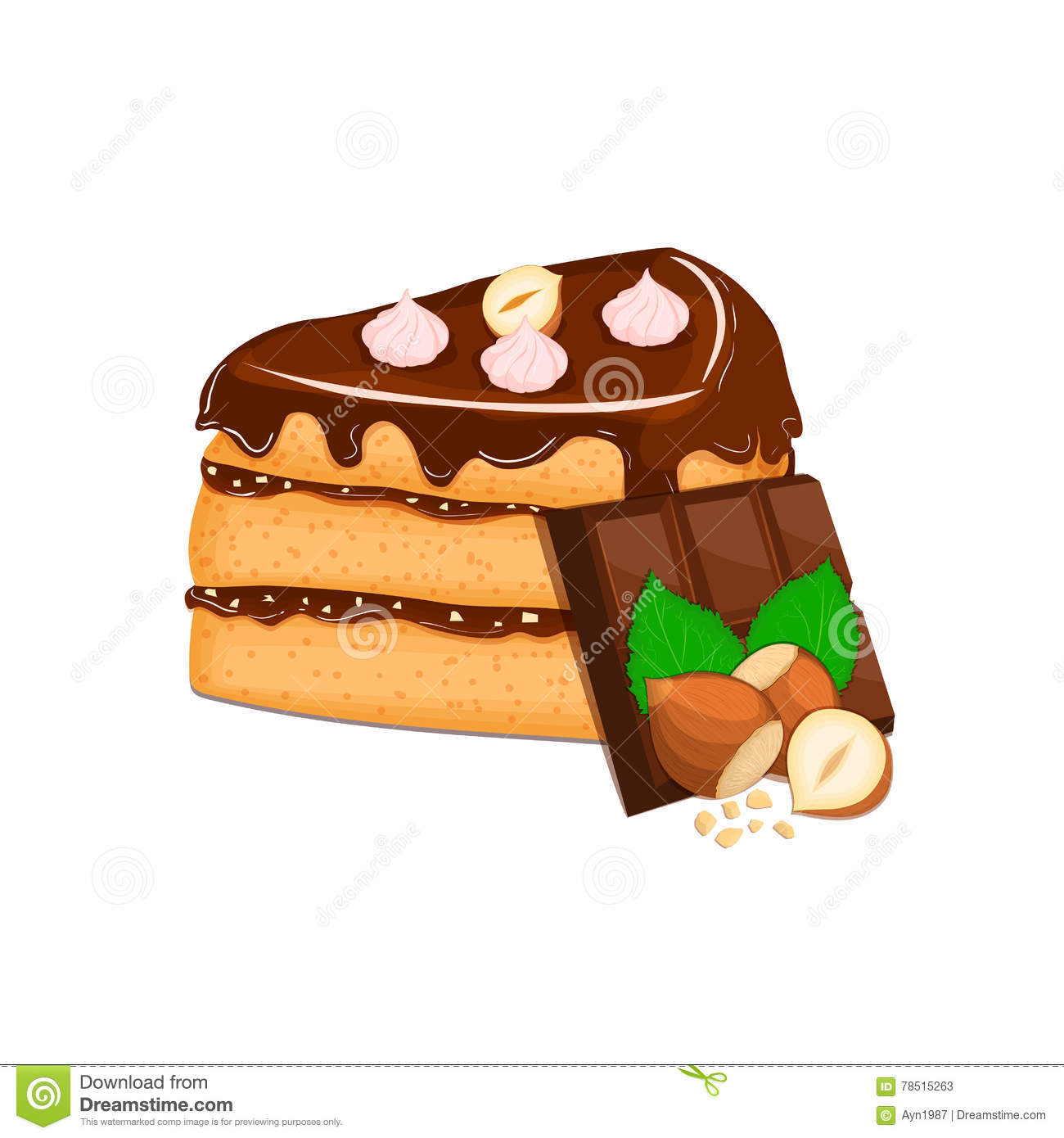 Piece Of Cake With Nuts And Chocolate Bar. Vector Sliced Portion.