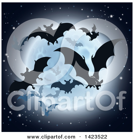 Clipart of a Full Moon Glowing in a Night Sky over a Layer of.