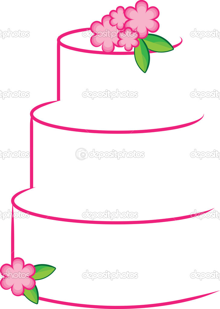 Clipart Illustration of a White and Pink Stylized Layer Cake.