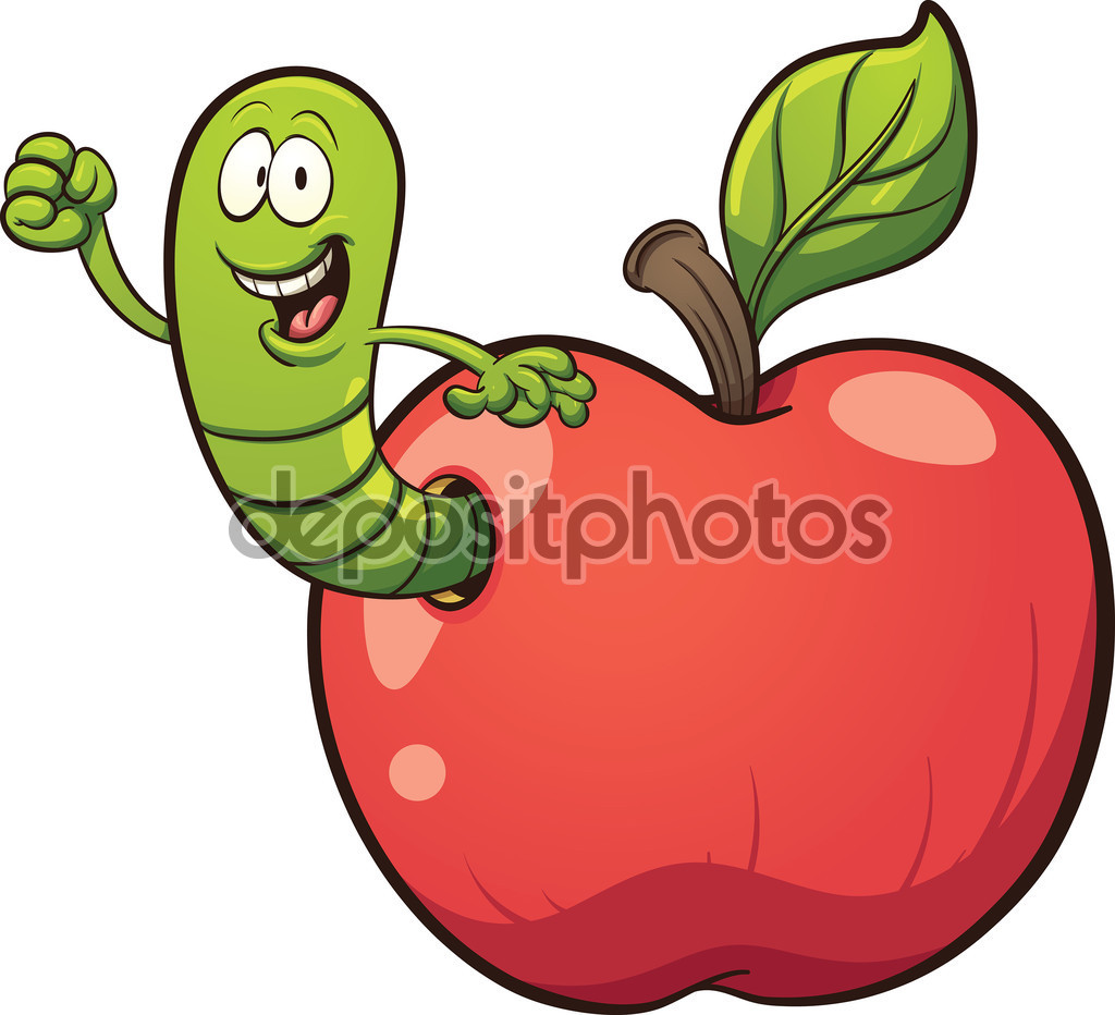 Cartoon worm coming out of apple — Stock Vector © memoangeles.