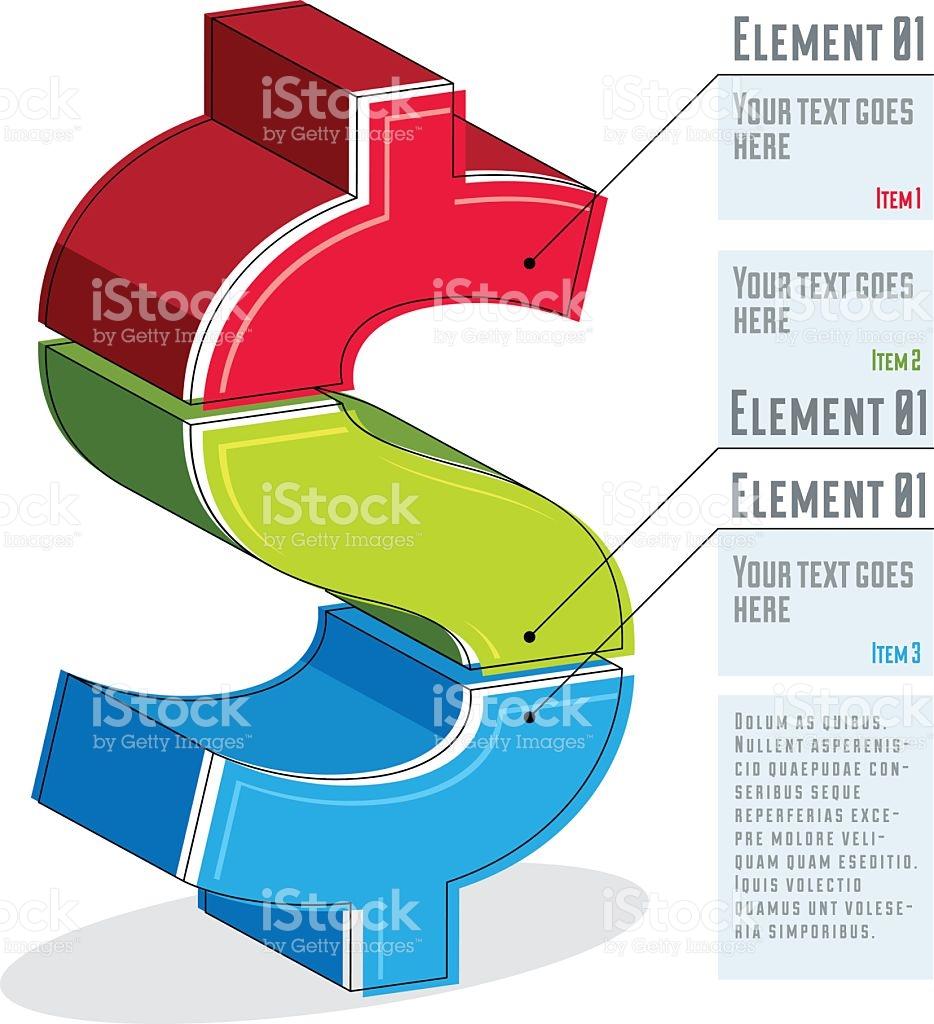 Creative Infographics Template Layered Dollar Sign Idea Vector.