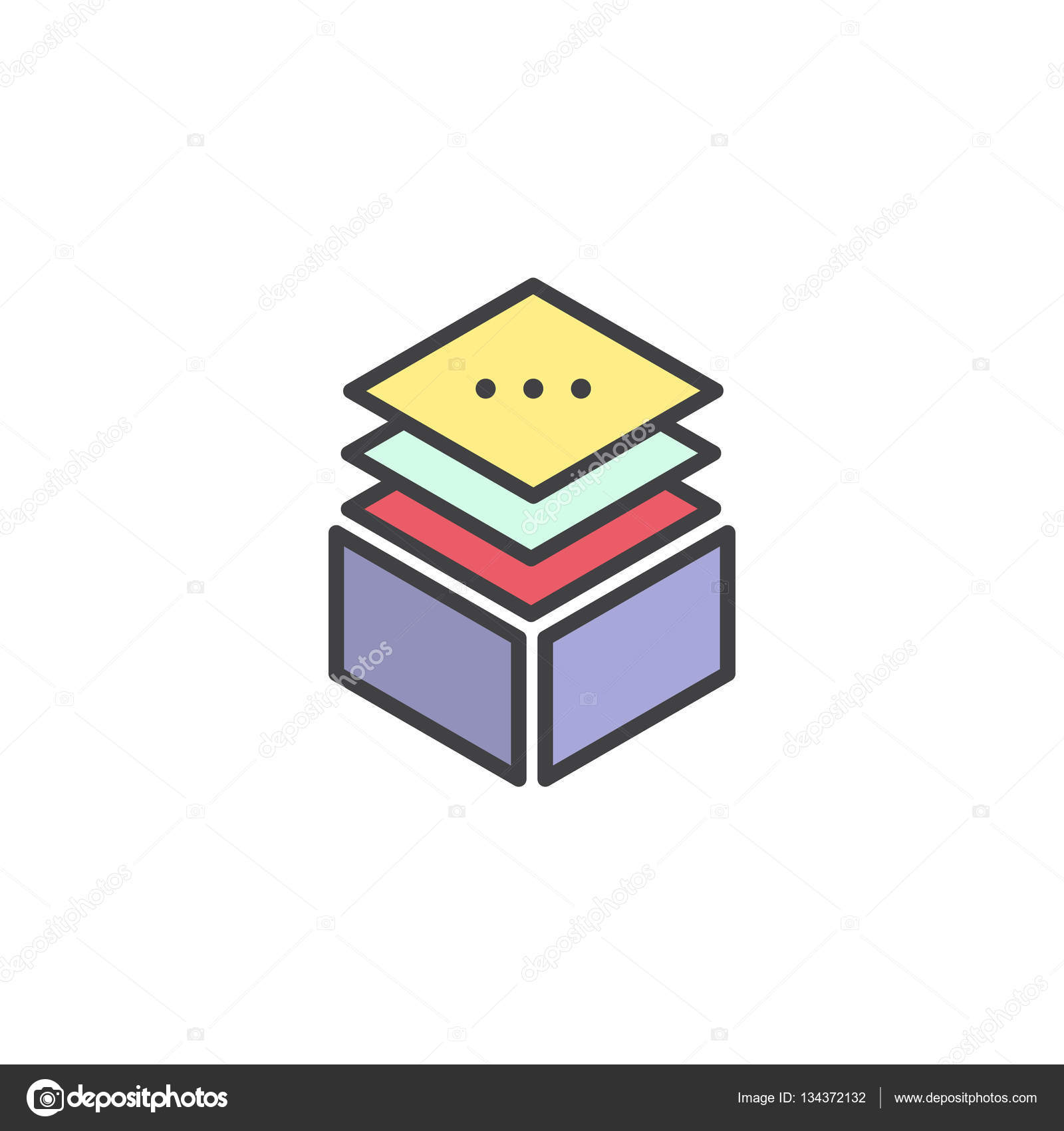 Vector Simple Icon Style Illustration Layered Stacks Showing.
