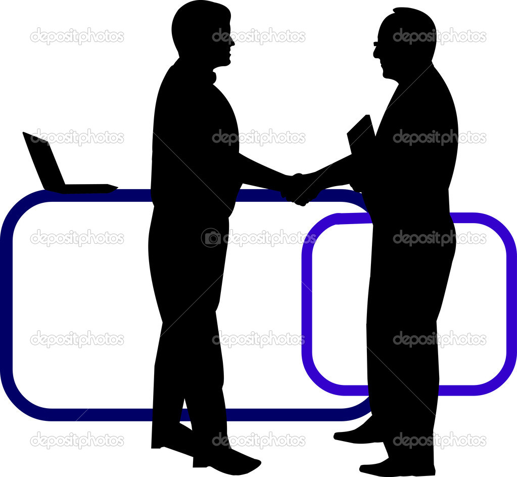 Business background with business people shaking hands in office.