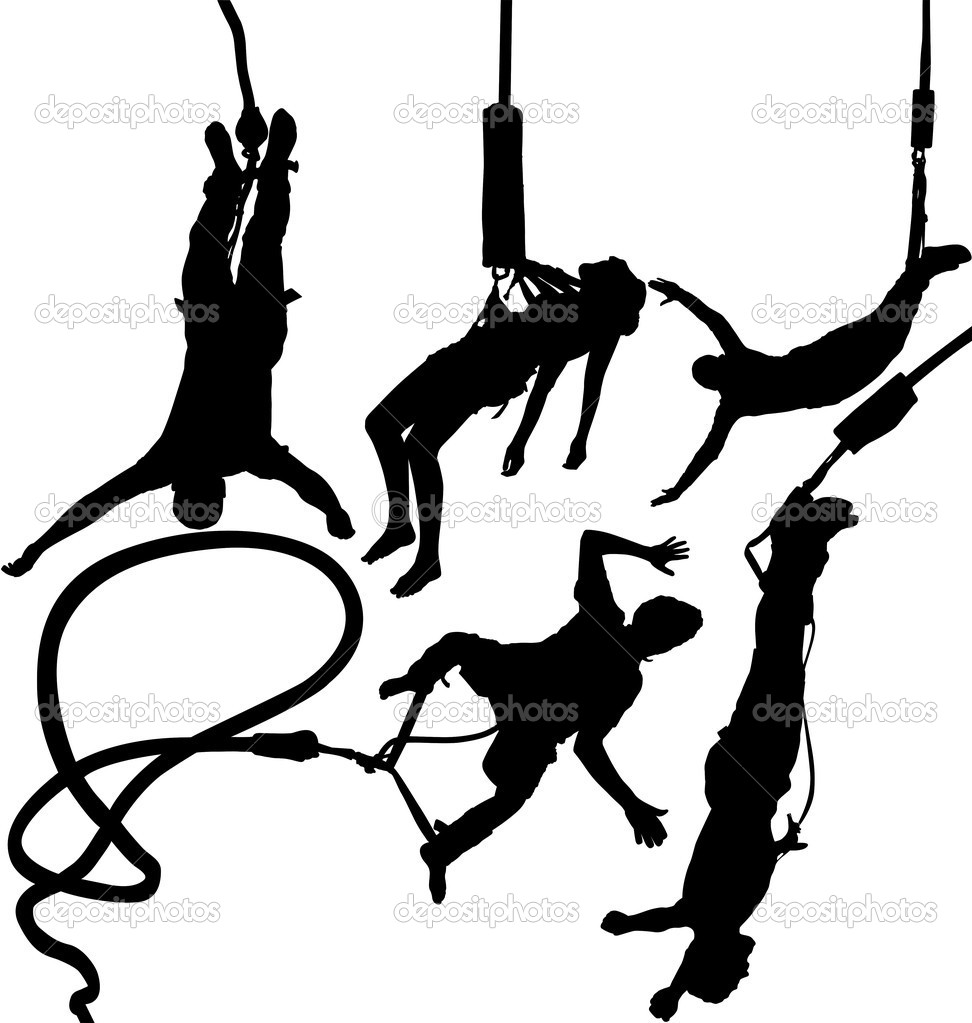 Bungee jumper vector silhouettes set. Layered. Fully editable.