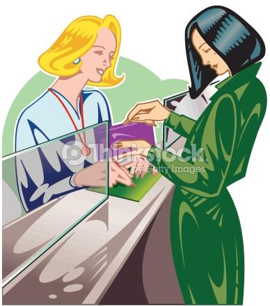 Woman Making Bank Deposit Color Illustrator Ver 3 Layered Keep.