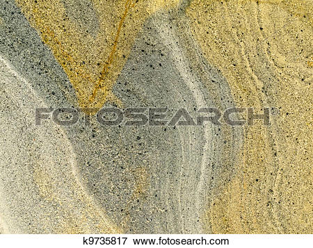 Picture of Smooth surface of layered sandstone sediment rock.