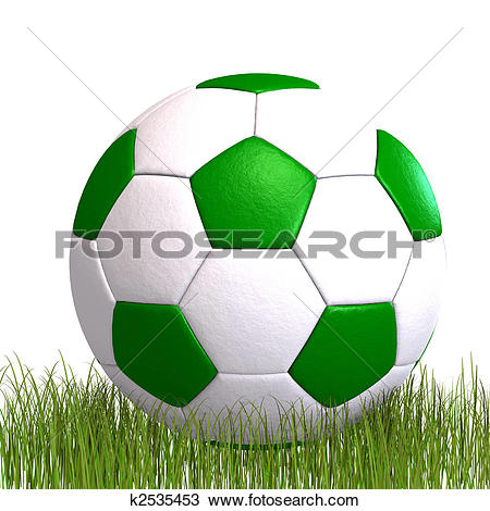 Drawing of soccer ball laying in the grass k2535453.
