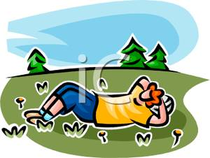 Colorful Cartoon of a Man Laying In a Meadow Relaxing.