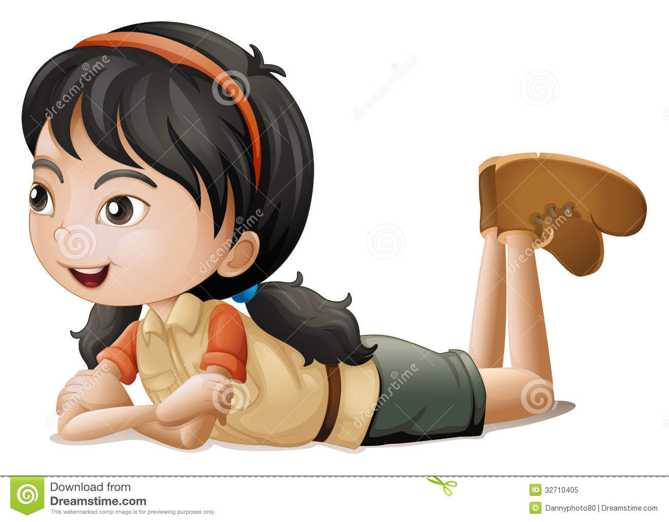 Laying down girl clipart.