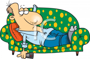 Royalty Free Clipart Image: Lazy Man Laying on a Couch.