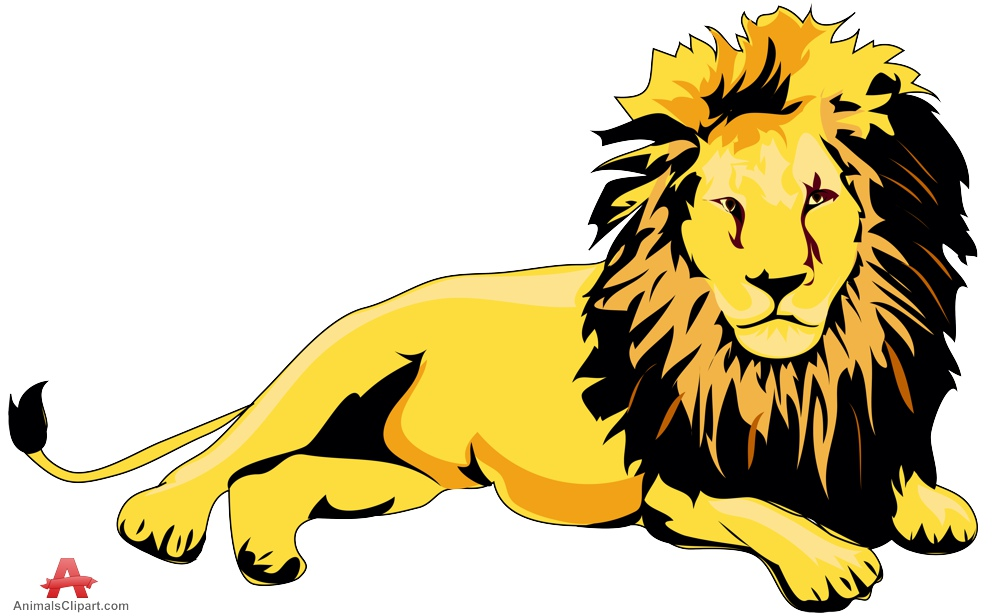 Lion laying down clipart.