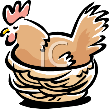 Royalty Free Clip Art Image: Hen in Her Nest.