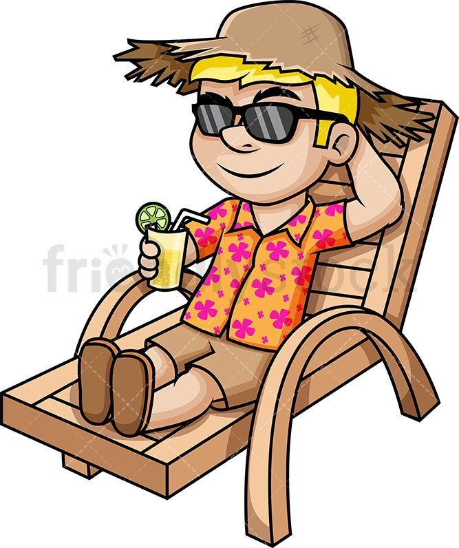 Relaxed Man Enjoying Summer Vacation.