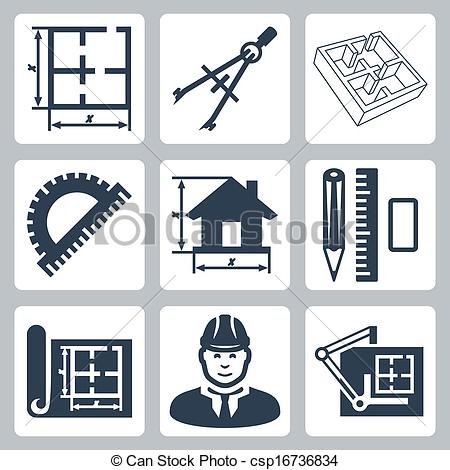 Vectors of Vector building design icons set: layout, pair of.