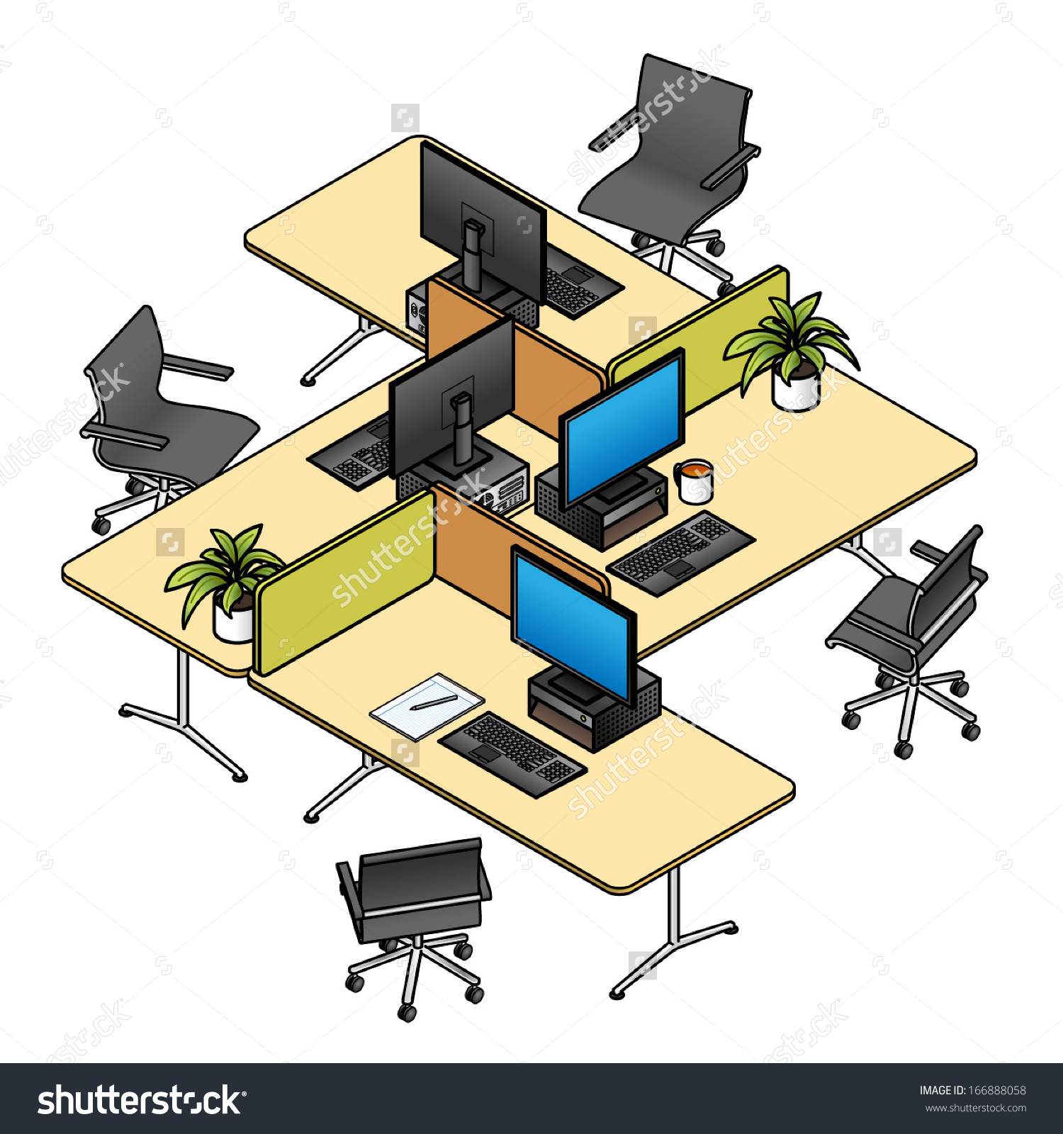 Office furniture layout clipart.