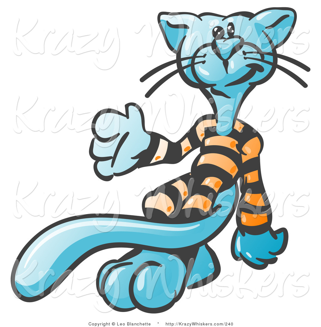 Critter Clipart of a Cool Blue Cat with a Long Tail, Wearing and.