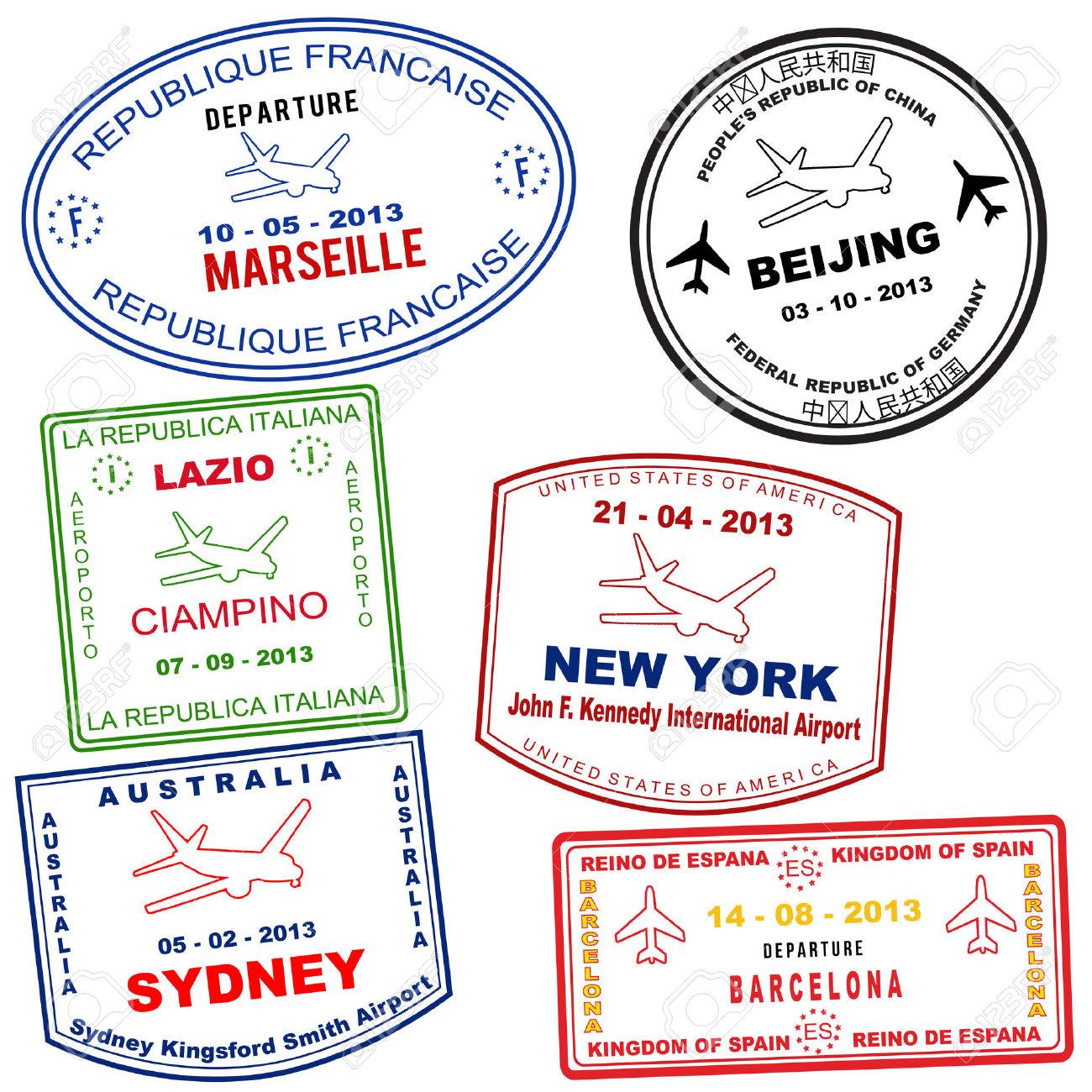 Passport Grunge Stamps From Marseille, Beijing, Lazio, New York.