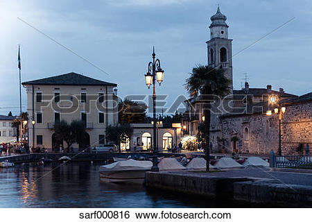 Stock Images of Italy, Lake Garda, Lazise, harbor and church of.