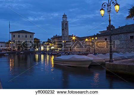 Stock Photo of Italy, Veneto, Lazise, Harbour, Church of Saint.